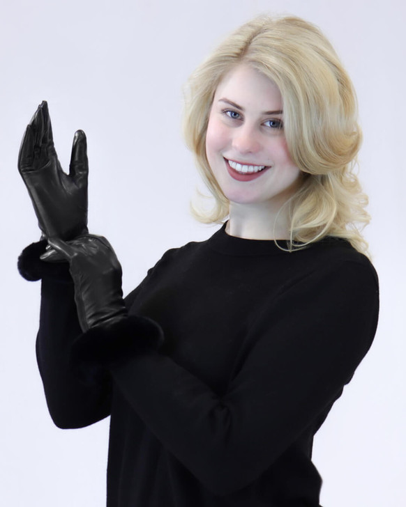 Leather Gloves with Rex Rabbit Fur Cuff