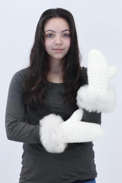 Star Knit Mitten with Faux Fox Fur Cuff