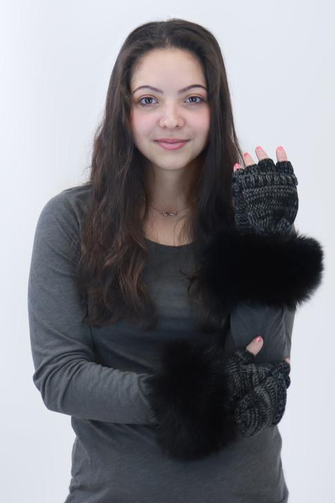Flip Top Mitten with Faux Fox Fur Cuff