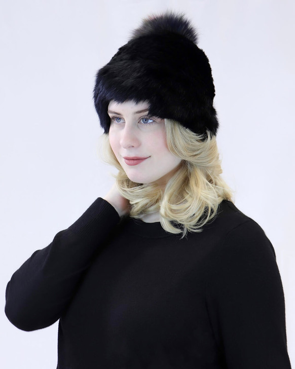 Rabbit Beanie with Fox Fur Pom