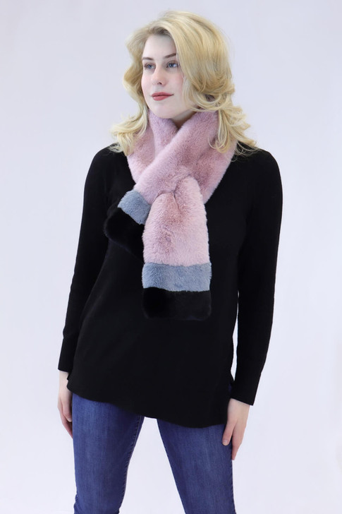 Faux Rex Rabbit Fur Striped Pull-Through