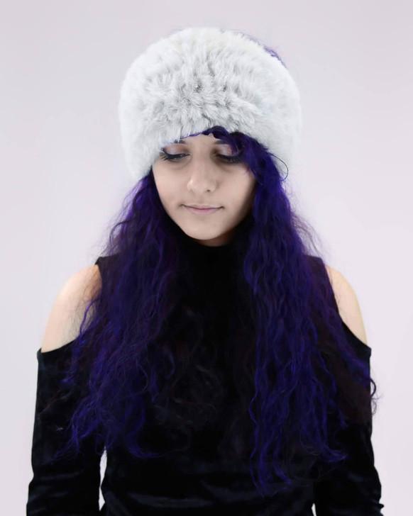 Faux Fur Rex Textile Knit Headband in Grey