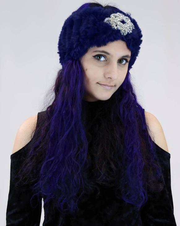 Surell Accessories Sheared Rabbit Knit Headband with Jewel  Navy