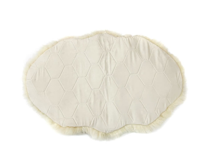 Shearling Sheepskin Rug with Quilted Back Beige (back)