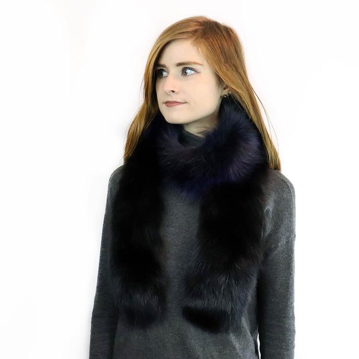 Fox Fur Boa in Black/Blackberry Tip Model Shot