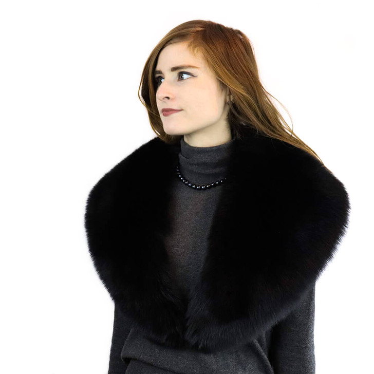 Fox Fur Stole with Satin Lining Black