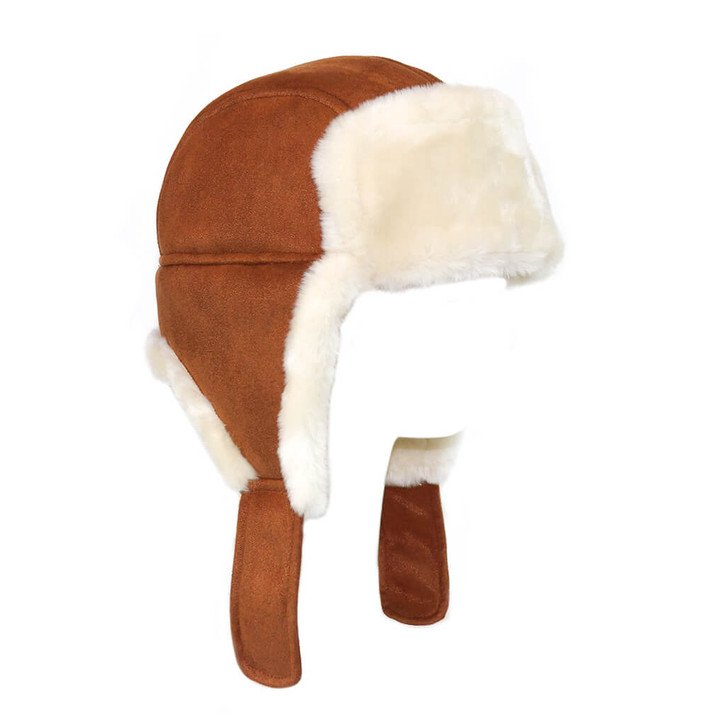 Faux Shearling Trooper Hat in Chestnut