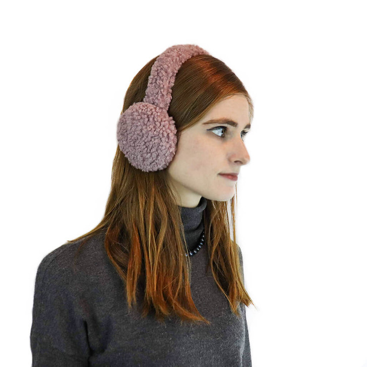 Faux Sherpa Earmuff with Halo Band Pink