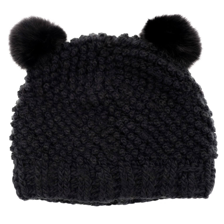 Children's Minnie Popcorn Stitch Beanie with Rabbit Poms Black/Black