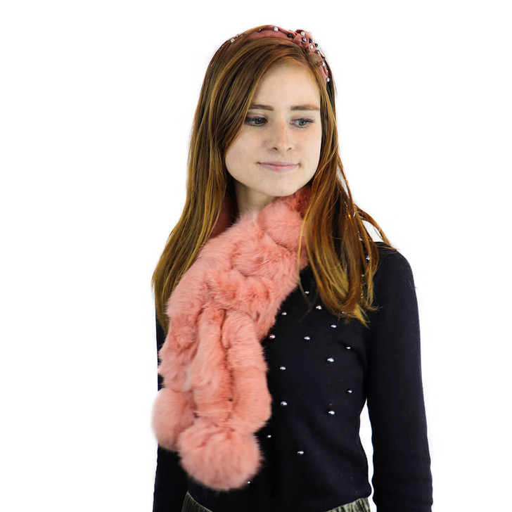 long haired rabbit ball scarf in pink model shot