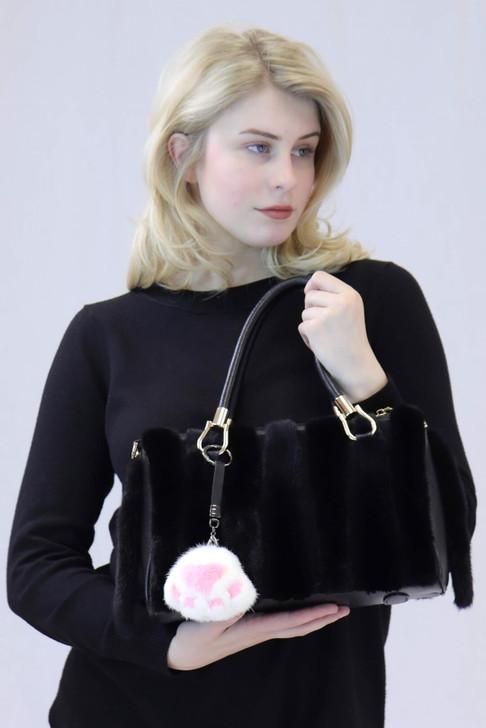 Mink fur Cat Paw Keychain
