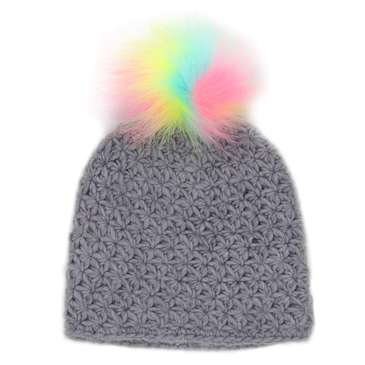 Children's Star Knit Hat With Faux Rainbow Pom