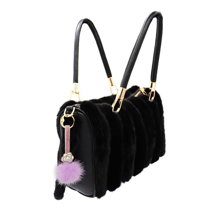 mink pom with bling strap lavender on bag