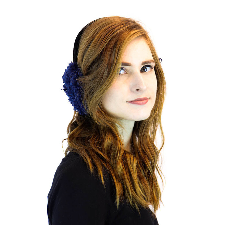 Navy Faux Curly Sherpa Earmuff with Velvet Band