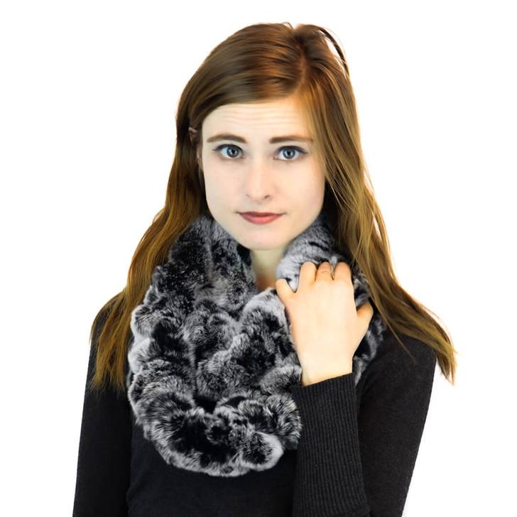 Rex Rabbit Fur Neck loop black frost