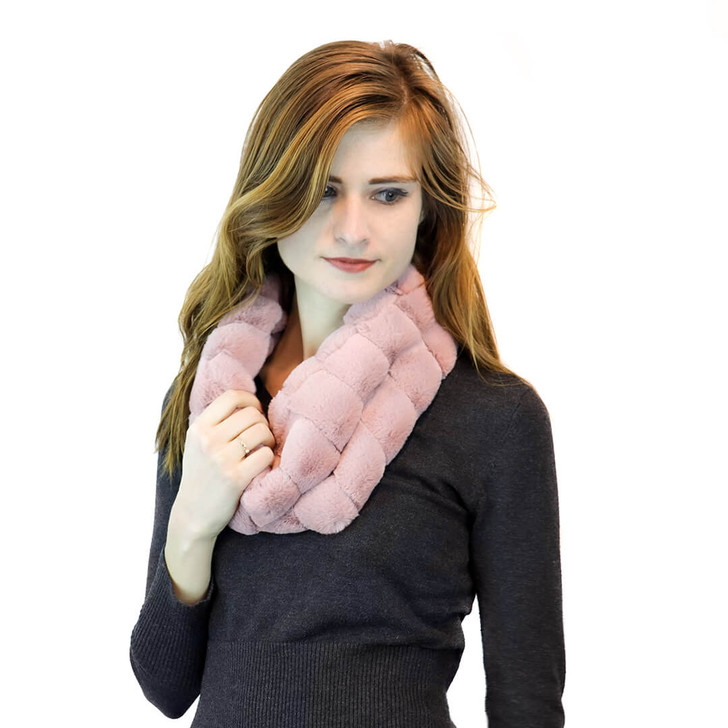 faux fur infinity scarf pink pleated