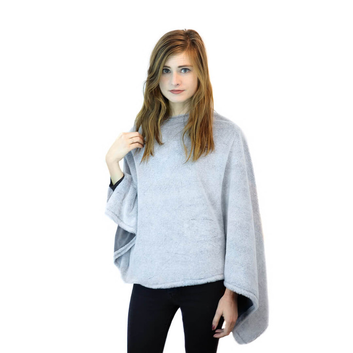 faux fur poncho grey