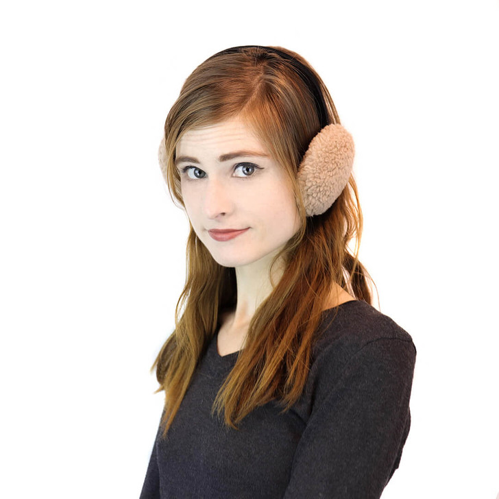 Faux Sherpa Earmuffs with Velvet Band Beige