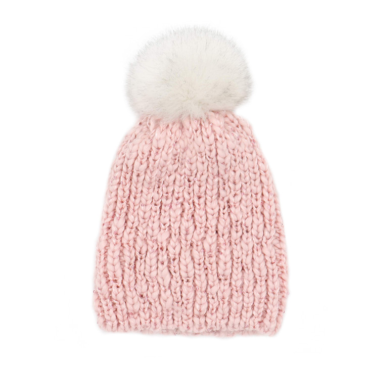 Children's Knit Bling Beanie with Faux Fox Pom pink