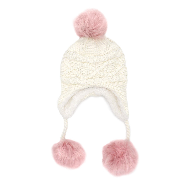 Children's Cable Knit Hat with Faux Poms ivory dusty rose