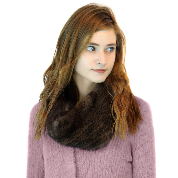 mink infinity loop scarf brown/black