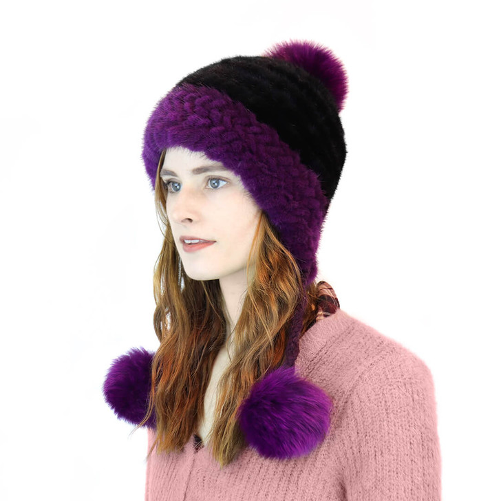 Mink pom hat black and purple