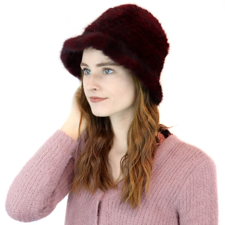 Mink Cloche hat in Wine