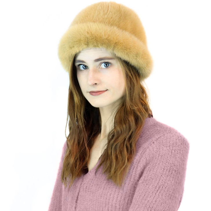 Mink Cuff Hat in Beige