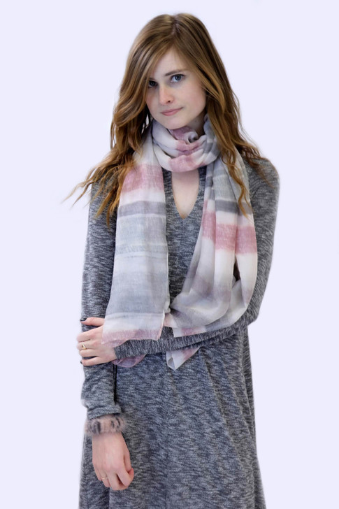Striped Scarf in Pink