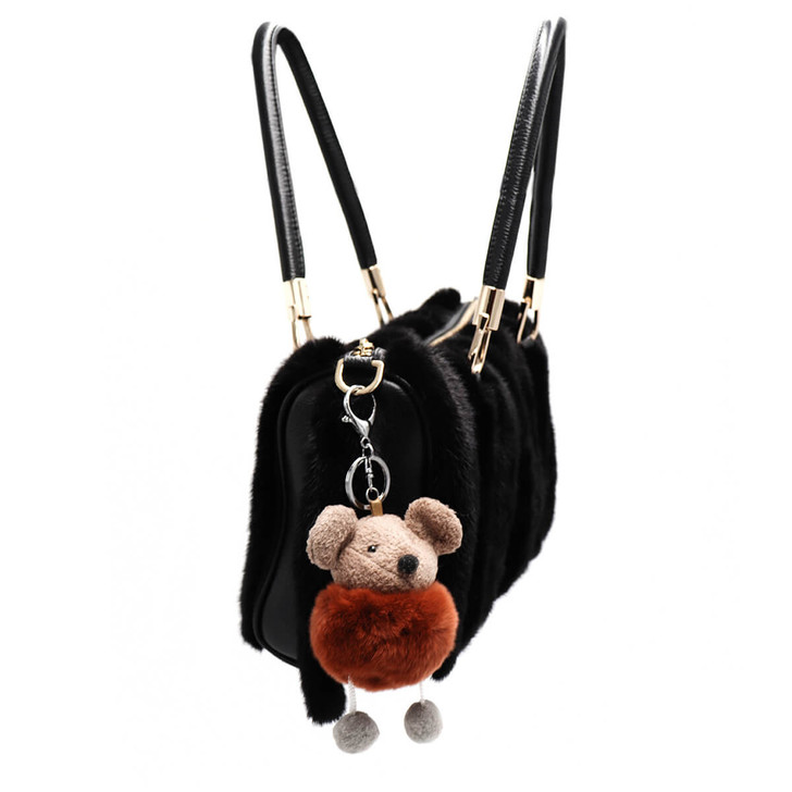 Rex Rabbit Fur Mouse Keychain - Brown