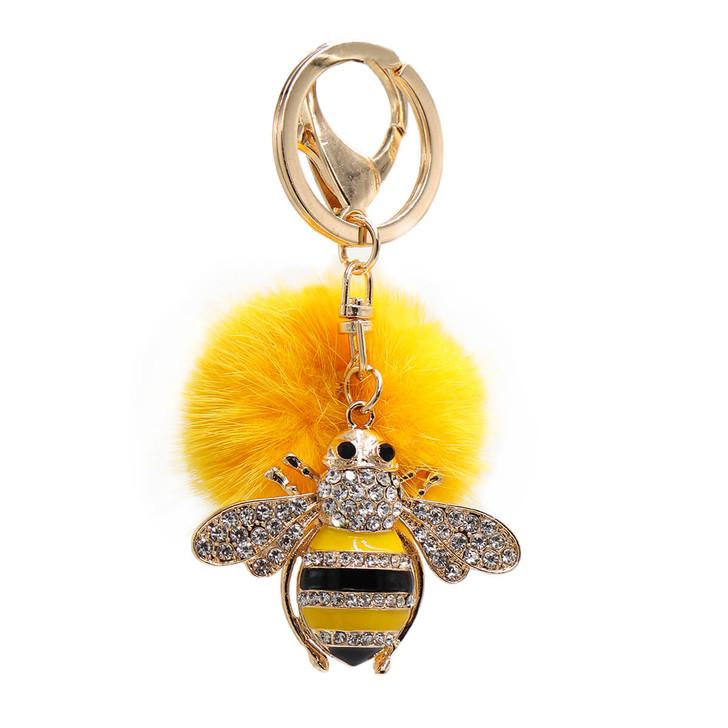 Mink Fur Bumblebee Keychain