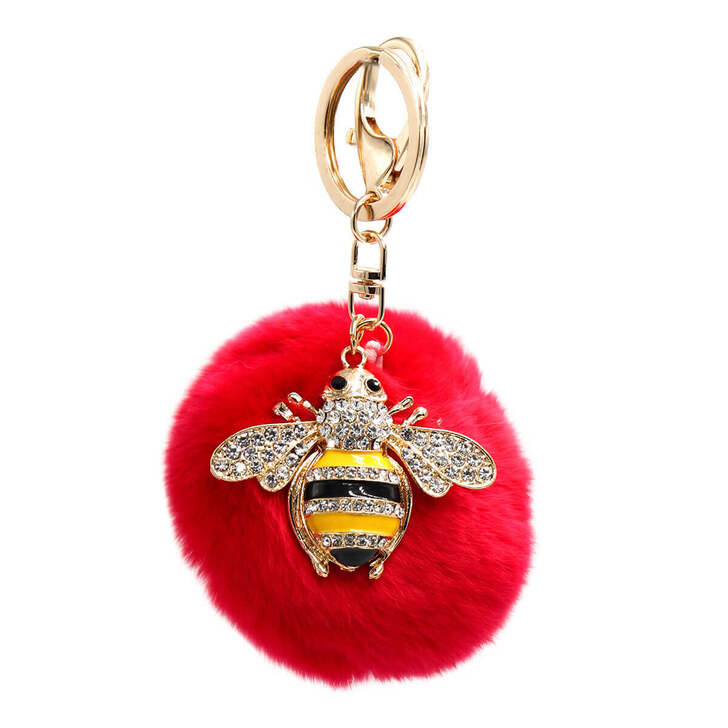 Rex Rabbit Fur Bumblebee Keychain