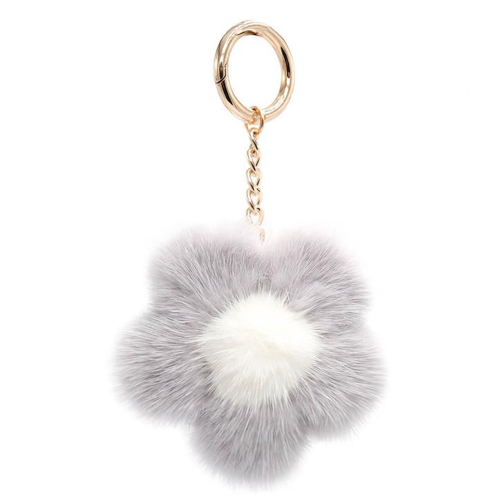 Large Mink Fur Flower Keychain