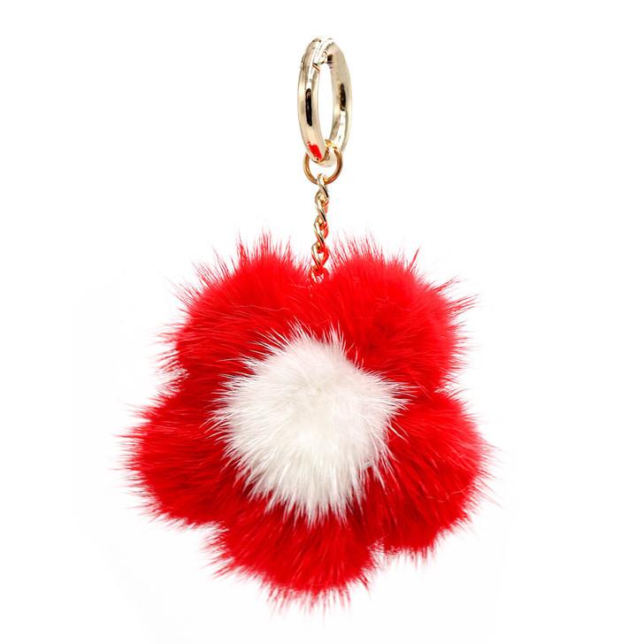 Small Mink Fur Flower Keychain