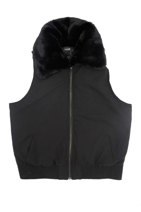 Nylon Vest with Faux Rex Rabbit Fur Trim