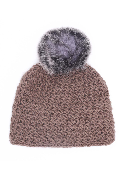 Coffee Star Knit Beanie with Arctic Fox Faux Fox Fur Pom