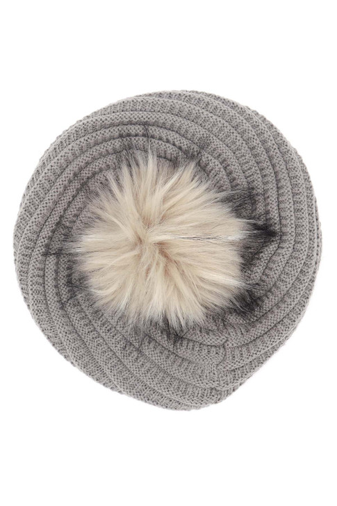 Knit Beret with Faux Fox Fur Pom