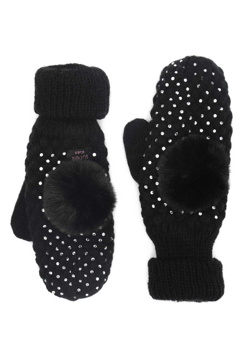Children's Seed Stitch Bling Mittens with Rabbit Fur Pom