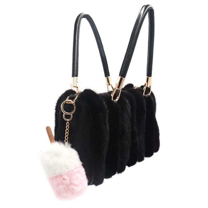 Rex Rabbit Fur Ice Cream Keychain
