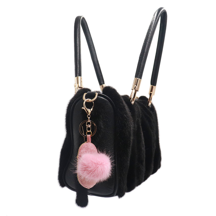 Shearling Slipper With Mink Fur Keychain