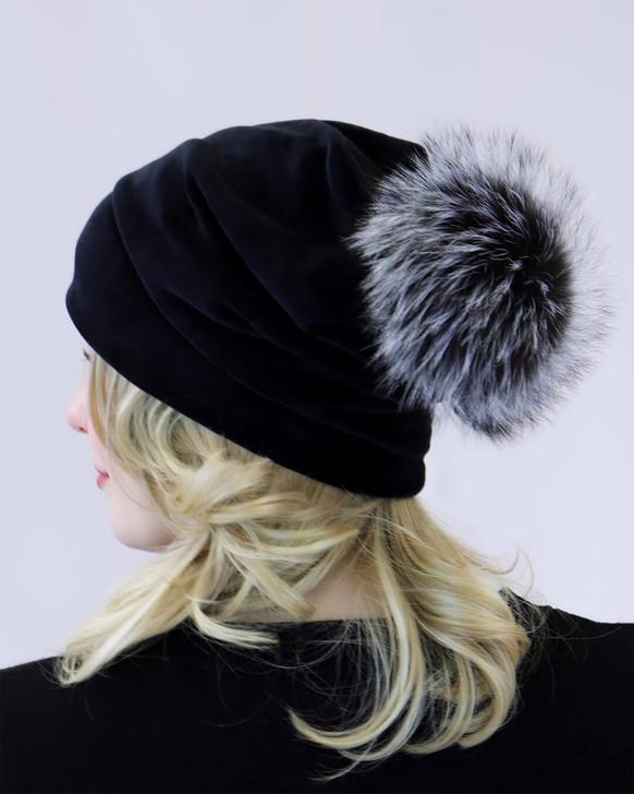 Velvet Slouch Beanie with Fox Fur Pom