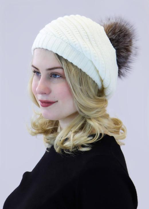 Spiral Knit Beanie with Fox Fur Pom ivory/crystal