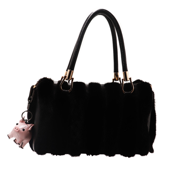 Pleather Pig-Shaped Keychain