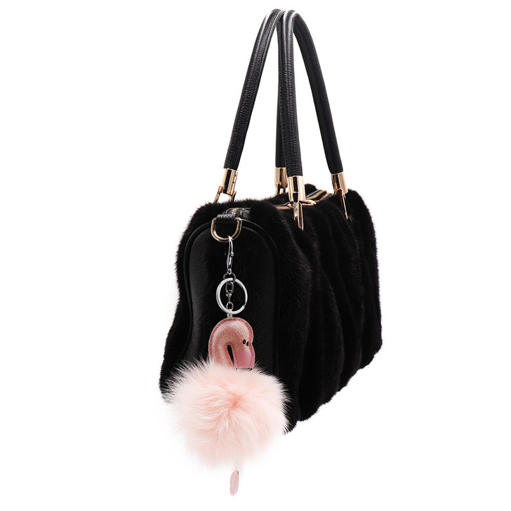 Fox Fur Flamingo Keychain