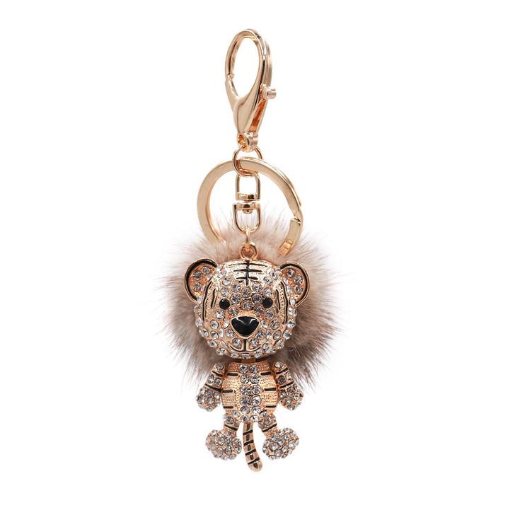 Mink Fur Tiger Keychain