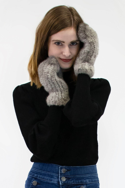 Mink Fur Mittens with Rope String