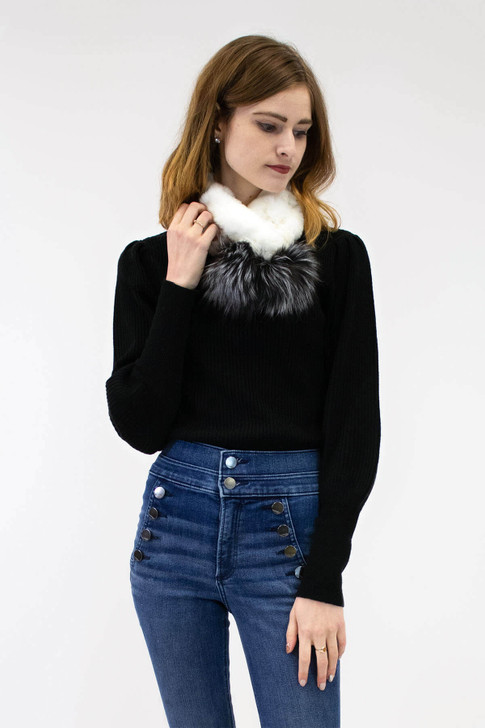 Rex Rabbit Scarf with Fox Fur Poms