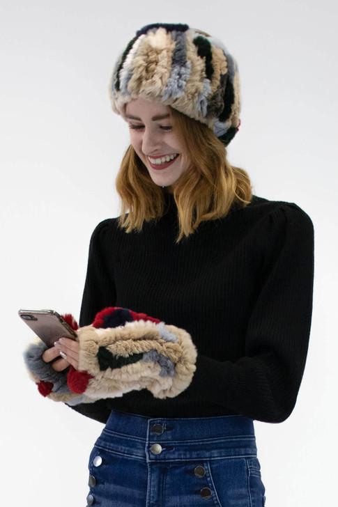 Rex Rabbit Fur Text Mittens
