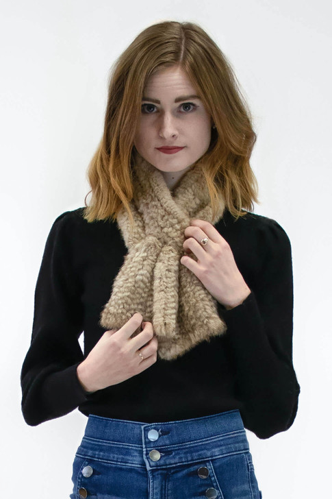 Short Mink Fur Knit Pull-Through
