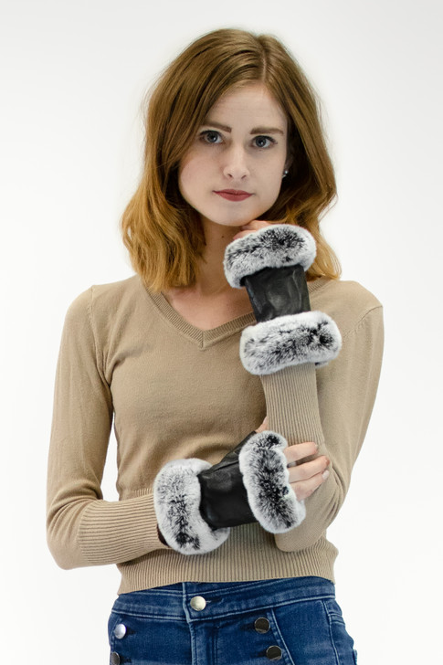 Lamb Leather Fingerless Gloves with Rex Rabbit Trimming
